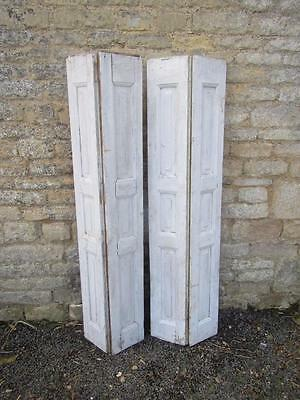 VINTAGE WOODEN SHUTTERS FRENCH Bi Fold WINDOW 157 cm tall FREE POST