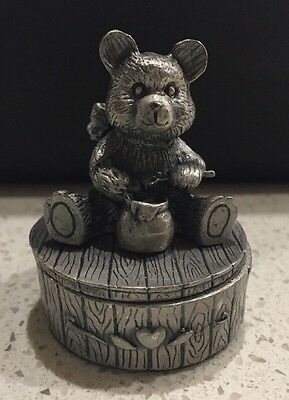 Baby's Teddy Bear With Honey Pot 1st Tooth Or 1st Curl Keepsake Box