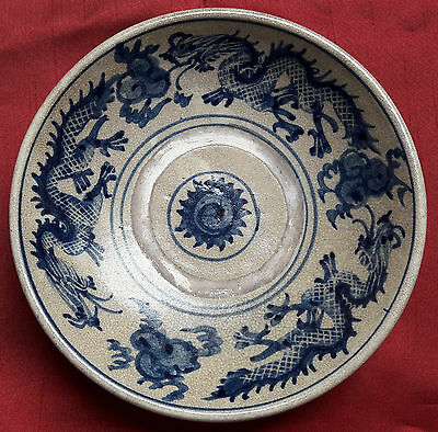 Antique Chinese Late Ming-Qing Style Blue and White Dragons Dish