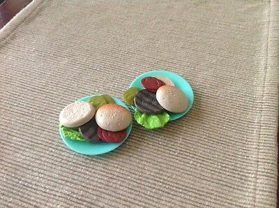 """18"""" doll food burgers plates fits American Girl Our Generation toy"""