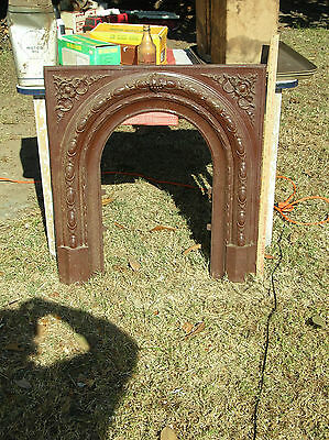 "Early Cast Iron Fireplace Mantel Insert Architectural Salvage- 31"" X 32""- Solid"