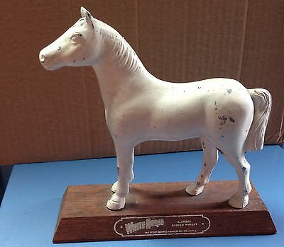 Vintage White Horse Scotch Whiskey Back Bar Display Metal On Hardwood Base