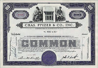 Chas. Pfizer & Co. Inc., New Jersey, 1950 - die Pharma-Aktie (100 Shares)