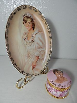 PRINCESS DIANA - Collector Oval Plate Bradford Exchange 1997 & Diana Music Box