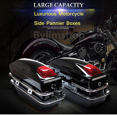 Hard Motorcycle Panniers Universal Case Side luggage Boxes Saddle Bag Cruiser SQ