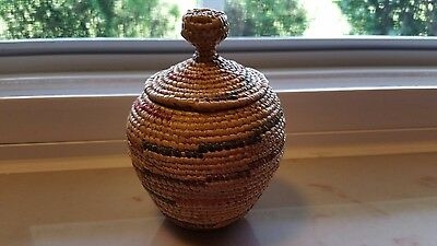 "Small Two Piece Woven Basket with Color Bands-4 1/2"" Tall-Great Condition"