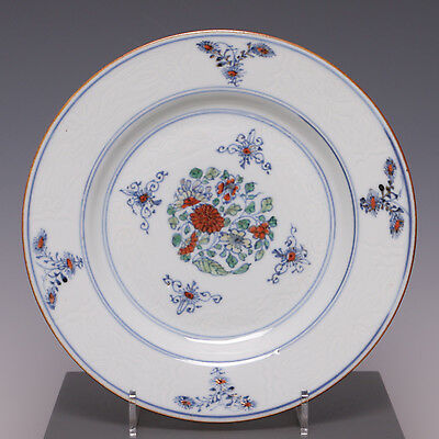 Nice rare Yongzheng period 18th ct Doucai plate with incised decoration.