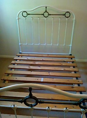 """Genuine Victorian Brass And Cast Iron Bed With Side Irons 4'6"""" Not Reproduction"""
