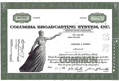 Columbia Broadcasting System Inc (CBS), 1968  (1 Share)