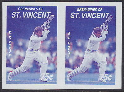 ST. VINCENT GRENADINES - 1988 Cricketers IMPERF PAIR AND MISSING COLOUR UM/MNH*