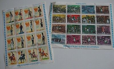 """2 x Ecuatorial Guinea """"NAPOLEON"""" Miniature Sheets, Fine Used, 32 Stamps in Total"""