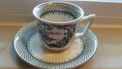 Vintage Signed  Wm. Adams & Sons England  Demitasse Cup & Sauce-Minuet Design