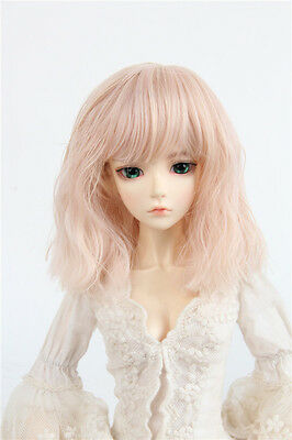 "6-7"" Smoke Pink Heat resisting Fiber Wig Mid-Long curly Hair for 1/6 BJD Doll"