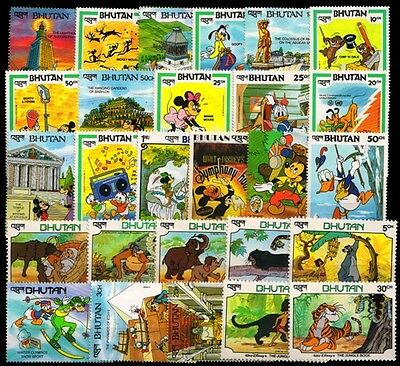BHUTAN Disney Cartoon Stamps-27 Different Mint Postage Stamps-Large Only