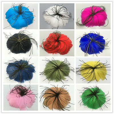 Beautiful 1pcs soft goose feather flower handmade art 17 colors can choose