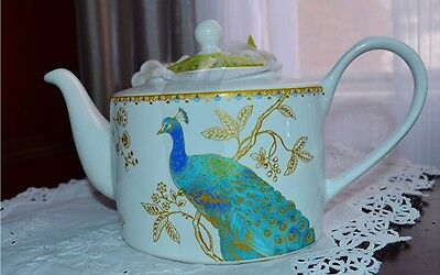 BRAND NEW- 222 FIFTH Peacock Garden  TEAPOT - CANUCK BUCK SPECIAL !!