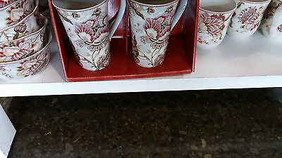 BNIB ! 222 FIFTH Gabrielle Cream Fine China - SET of FOUR (4) TALL LATTE MUGS