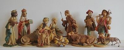 ### Fantastic Large 11 Piece Vintage Italian Nativity Set ###