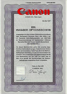 JAPAN:  Canon Inc., Tokio, 1991 (1 Inhaber-Optionsschein)