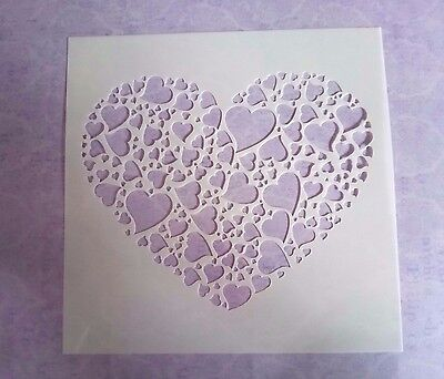 Heart 5x5 Stencil Card Making Scrapbooking Airbrush Painting Home Decor Planner