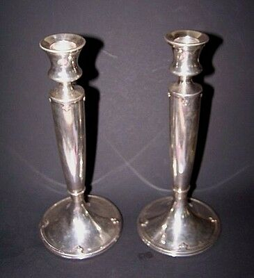 Pair Of Vintage Arts & Crafts Strapped E.p. Candlesticks By Wilcox