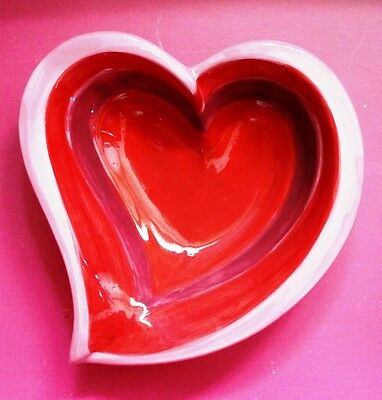 Porcelain Heart Shaped Valentine Candy Dish-Pink, Red and Purple