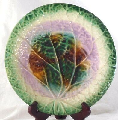 Late C19Th  Majolica Leaf Moulded Plate A/f