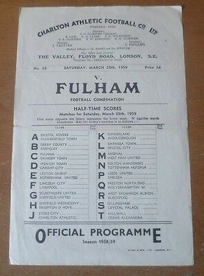 Charlton Athletic v Fulham, 1958/59 - Football Combination (Reserves) Programme