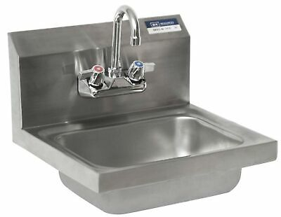 "BK Resources BKHS-W-1410-P-G Wall Mount Stainless Steel Hand Sink with 4"" On Cen"