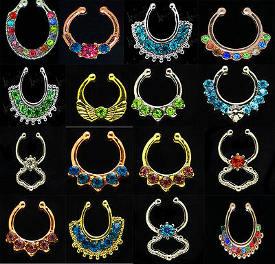 Charms Hippy Handmade Septum Clip on Clicker Gem Crystal Nose Ring Non Piercing