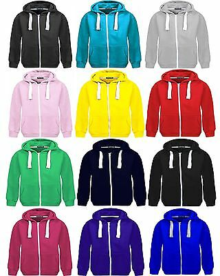 Bnwt Kids 'unitex' Branded Girls Boys Plain Fleece Hooded Zip Hoodies 7-13 Years