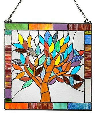 River of Goods 15042 Tiffany Style Stained Glass Mystical World Tree Window Pane