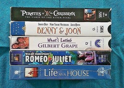 Lot of 5 VHS - Johnny Depp - Leonardo DiCaprio - Drama Romance Tragedy Comedy