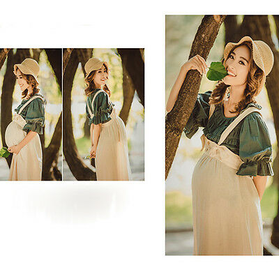Maternity Pregnant Lady Photography T-shirt Wide Leg Pants Hat Cotton Linen Cute