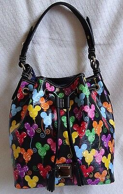 Disney Dooney And & Bourke Black Mickey Mouse Balloons Drawstring Hobo Bag Purse