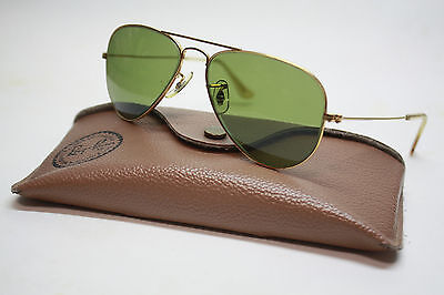 Vintage Bausch & Lomb  Ray Ban Aviator Sunglasses & Case  52 - 14