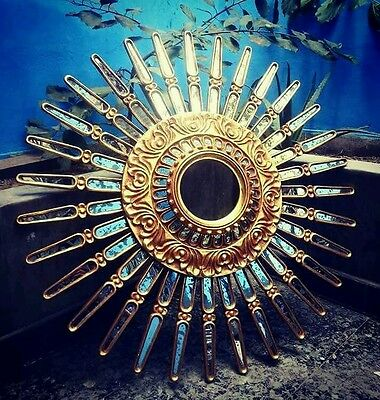 Vtg Design Beautiful Sunburst Starburst Carved Gilt Wood Mirror Spanish Colonial