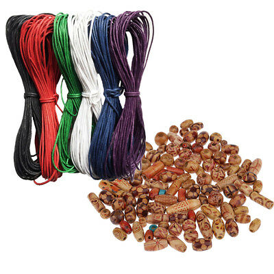 Mix Wooden Boho Large Hole Beads+Waxed Cotton Cord for Crafts Jewelry Making