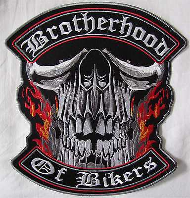 Rare Large Brootherhood Of Bikers Motorcycle Biker Embroidered Sew Badge Patch