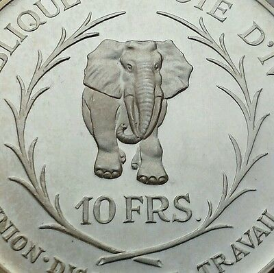 Ivory Coast 10 Francs 1966. KM#1 .925 Silver Proof Crown coin. Elephant. 2,9mm.