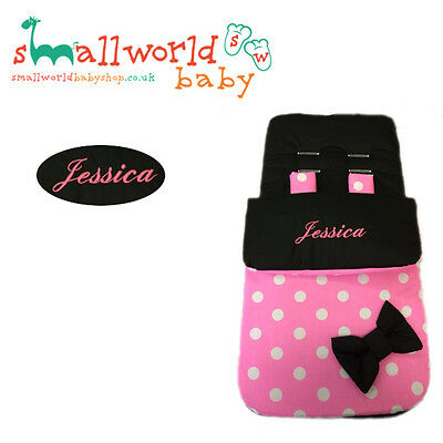 Personalised Girls Black & Pink Polka Dot Footmuff Cosytoes (NEXT DAY DISPATCH)