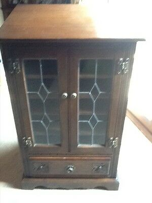 old charm hi fi cabinet leaded glass doors and one drawer excellent condition