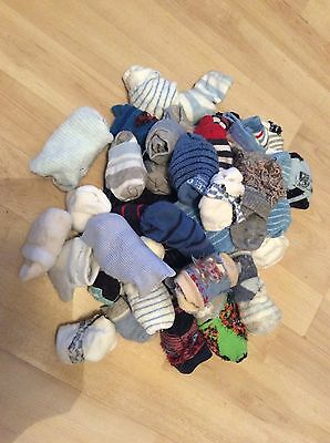 Pack Of 22 Baby Socks, Blue/white/grey/red, Bundle, Lot, 0-3 Months, Pre-Loved