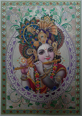 "LORD KRISHNA * Lovely POSTER (Metallic waterproof paper 8""x12"")"