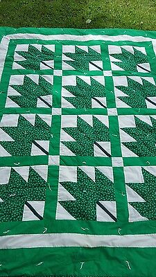 "Handmade Tied  Quilt Green Maple Leaf  58"" X 69""  100% Cotton  Fabrics"
