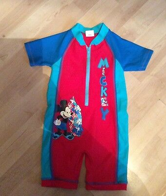 Boys, Disney, Size 18-23 Months, Blue & Red Mickey Mouse  Swimsuit, Pre-Loved