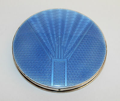 Stunning antique (1920) solid silver and blue enamel Art Deco compact mirror