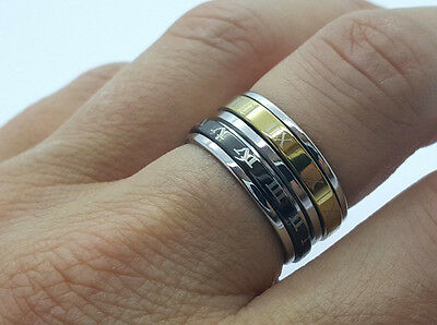 Ring Stainless Steel 316L Roman Letters Men's Women's