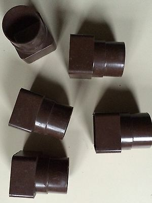 Gutter fitting - Square To Round brown, pipe socket connectors, plastic  X 5