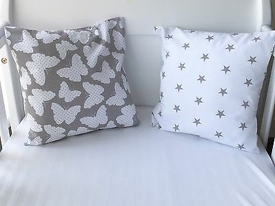 Handmade Cushion Cover White With Grey Stars ⭐️🌟